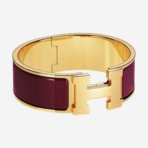 Auth HERMES Wide Clic Clac Bracelet